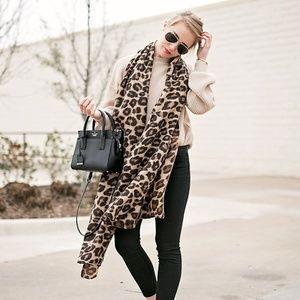 ASOS lightweight leopard print oversized scarf